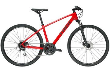 trek dualsport hybrid bike in red