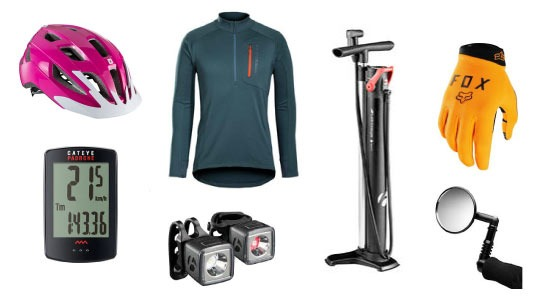 image of bike accessories: helmet, glove, computer, lights, jersey, pump, mirror