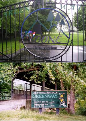 Top: The Greenway Gate, near Watauga Medical Center. Bottom: The Covered Bridge.