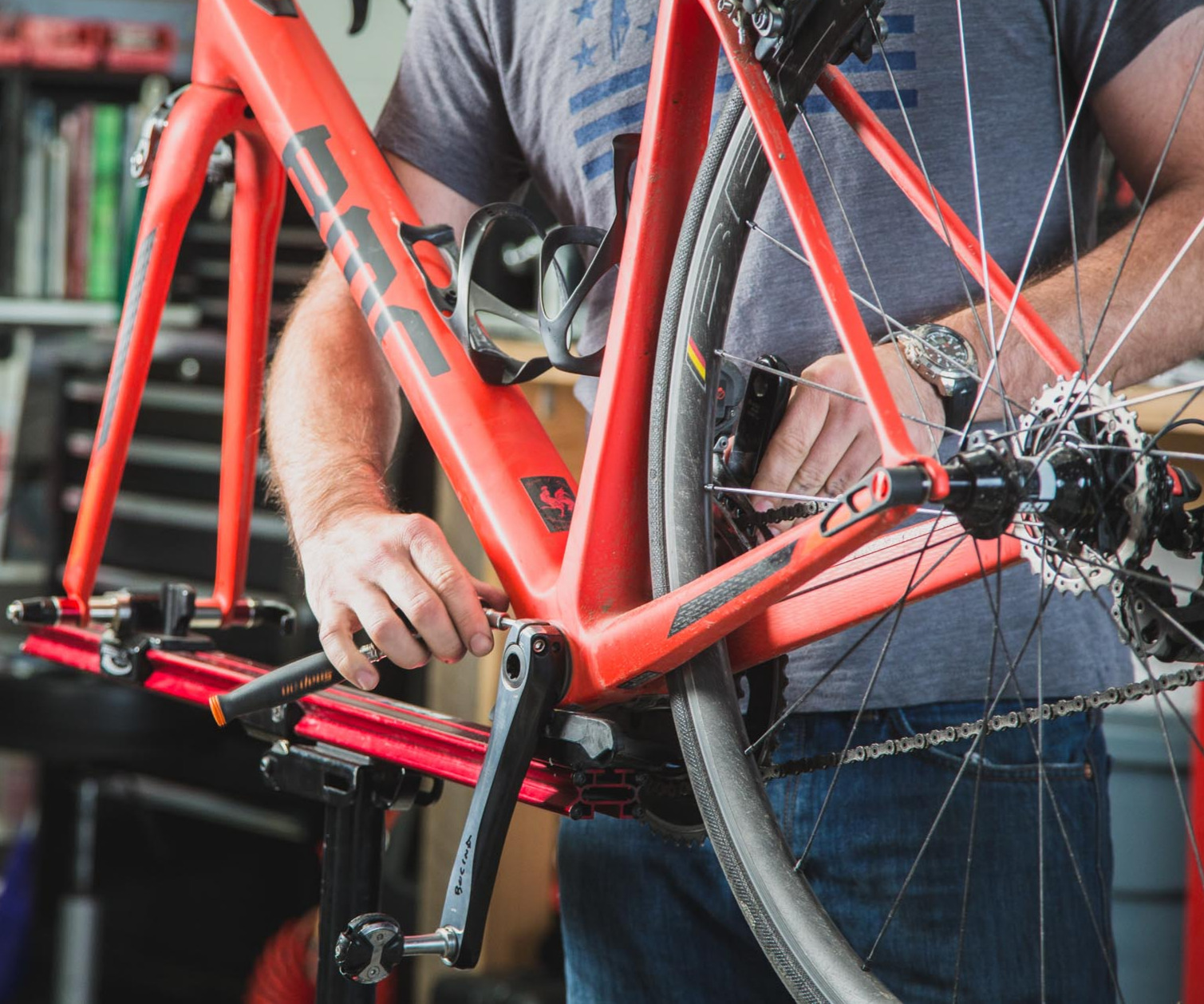 Bicycle Technician working on a bike.