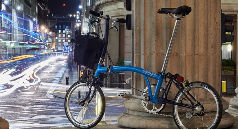 Folding bike on a city street