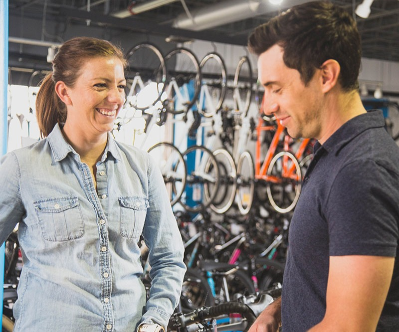 Staff in a bike shop service department