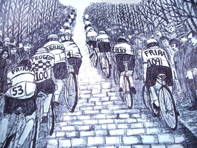 road racing on cobbles