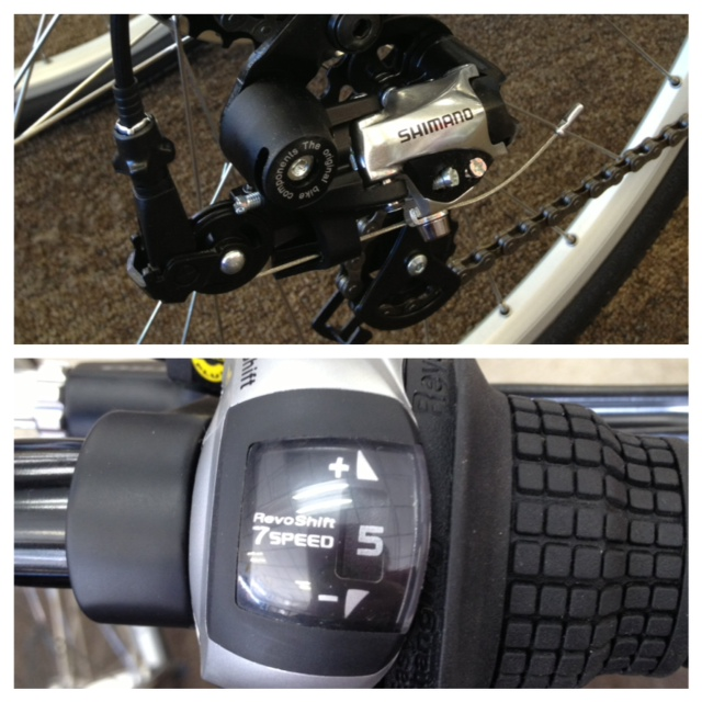 We even offer Shimano 7 Speed Grip Shifters on our Electric Bicycles!!!!! Walt's Cycle, Sunnyvale, CA!