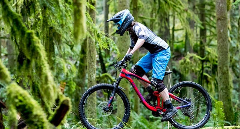 Woman wearing mountain bike apparel