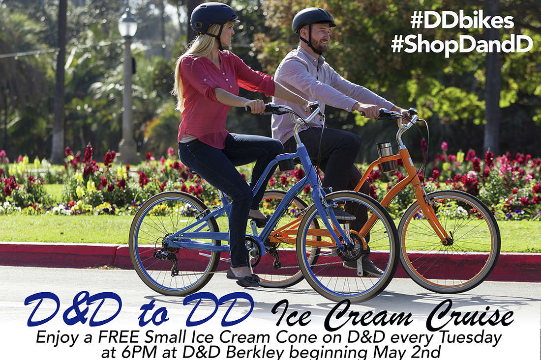 Enjoy a nice ride and ice cream cone on us during our weekly ice cream cruise at D&D Berkley every Tuesday!