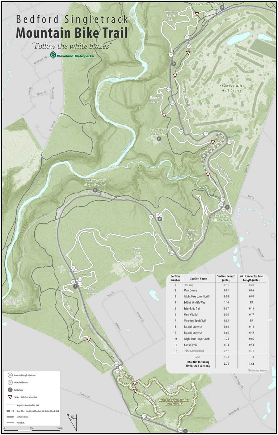 Cleveland Metroparks Bedford Single Track Mountain Bike Trail map