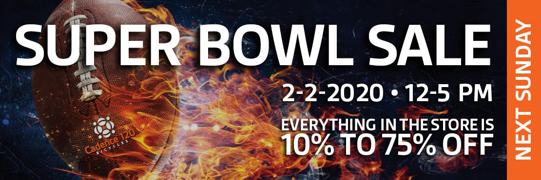 Super Bowl Sunday Sale Next Sunday, 2-2-2020 from 12pm-5pm. Everything in the store is 10% to 75% off.