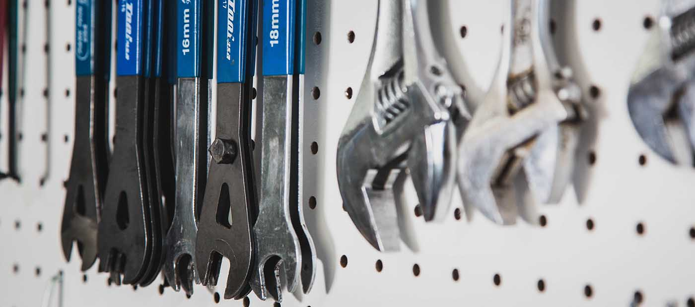 wrenches on a wall