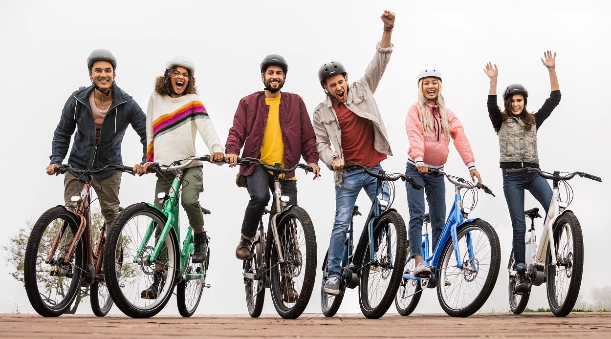 Group of cyclists on bikes