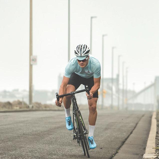 road cyclist sprinting