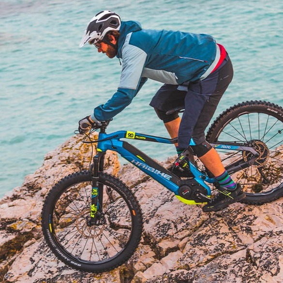 man riding haibike electric mountain bike