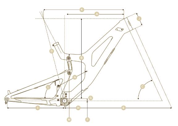 2020 Santa Cruz V10 Downhill mountain bike geometry graphic