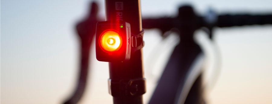 Bontrager taillight on mountain bike at sunset