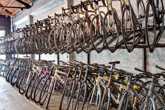 many bikes in sale racks