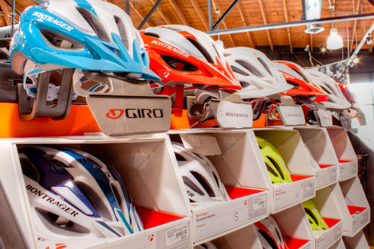 bike helmets on display