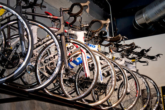 road bikes in display rack