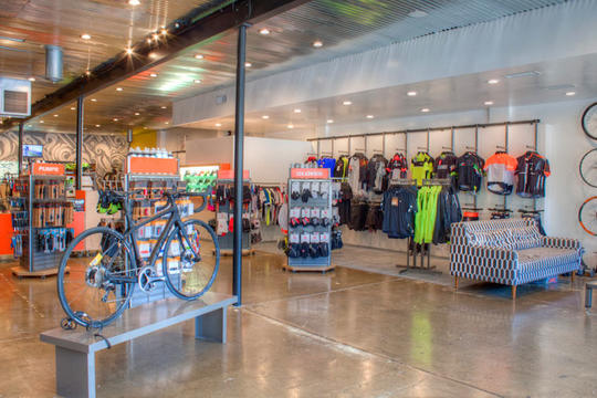 store interior at summit bicycles in los gatos