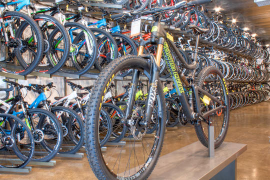 mountain bike on display