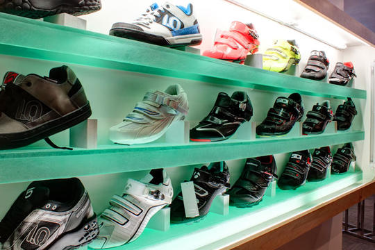 cycling shoes on display