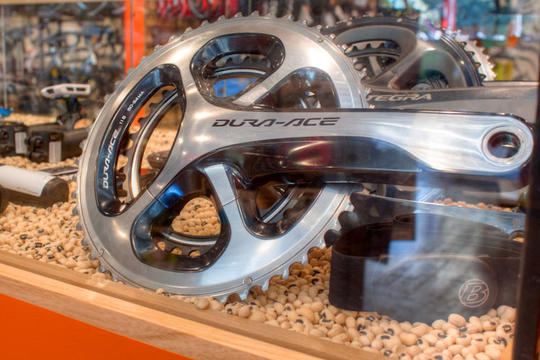 crankset and components in display case