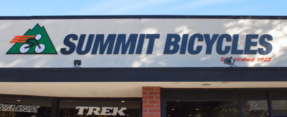 store front signage at summit bicycles in los gatos