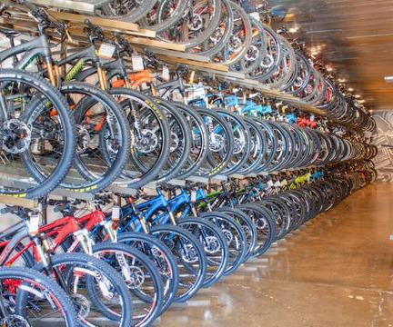 bikes in display racks