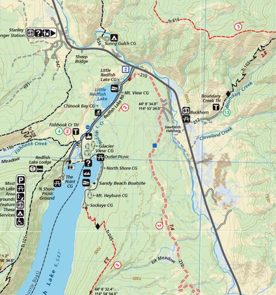 Adventure Maps Inc. Sawtooth & White Cloud Mountains Trail Map