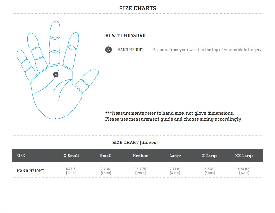 FlyLow Gloves Sizing Chart