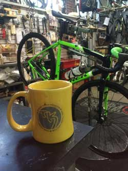 A nice Trek Boone in the workstand getting a tune-up!