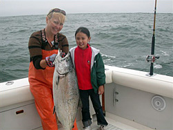 Fishing out of Half Moon Bay means king salmon like this beauty on the Que Sera Sera.