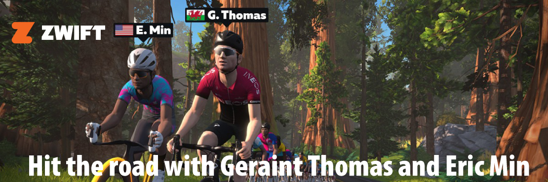 Hit the road with Geraint Thomas and Eric Min.