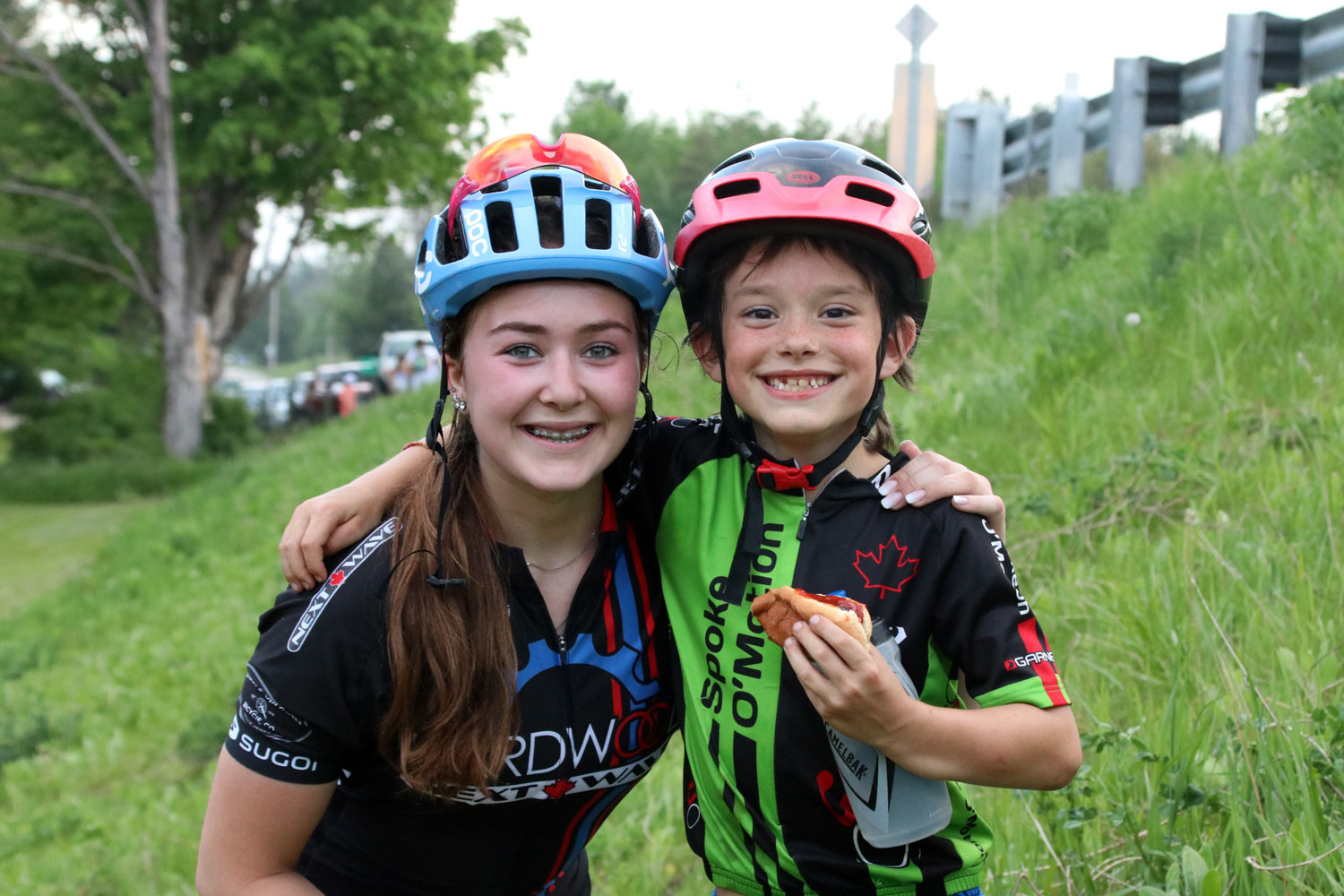 Carys Reid and Kaiden celebrate a great night of racing with friendship and food - two of life's greatest joys. (Along with cycling, of course.)