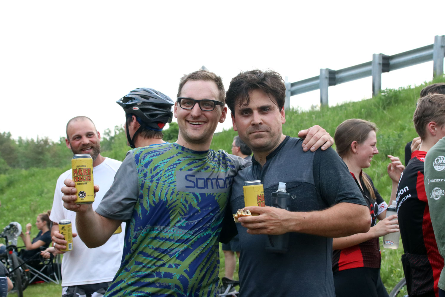 Dave Van Schie (left) - bridge builder extraordinaire - and Paul Boken enjoy a cold brew and burger after an epic race. Treats never taste better than when they are hard-earned! Thanks to Red Thread Brewing Co. for supporting our event!