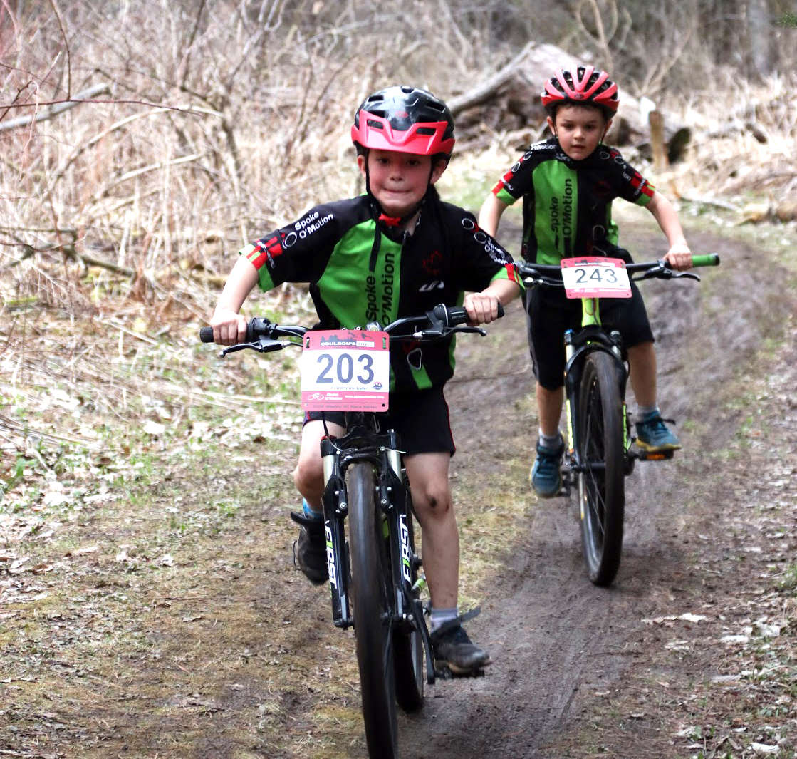 Kaiden (foreground) lead Ryder (background) for two laps.