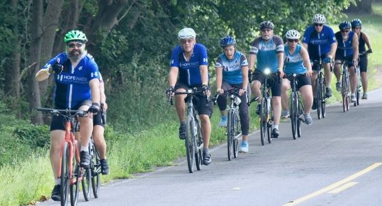 A group of cyclists rides during the Assenmacher 100