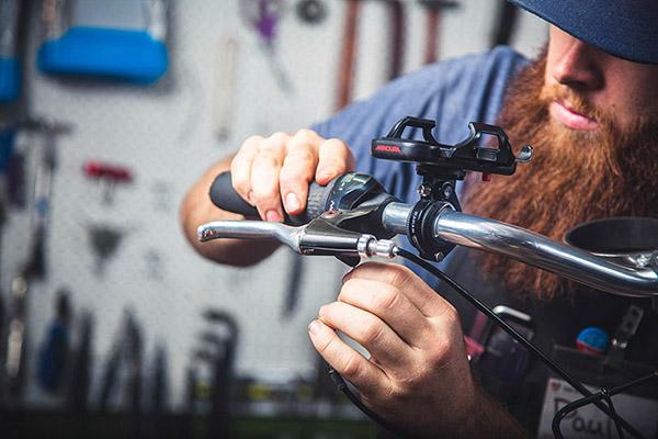 Mechanic working on a bike