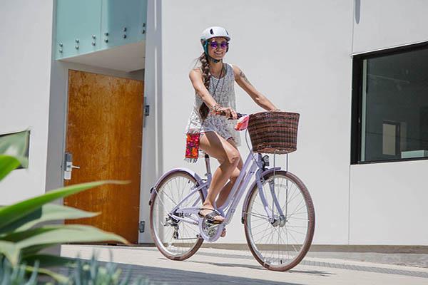 Riding a rental bike