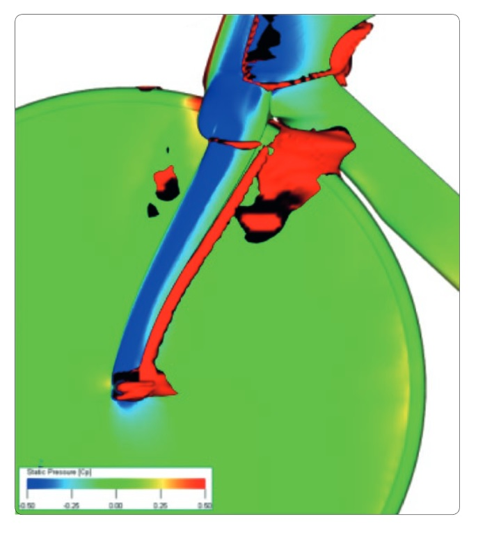 CFD image of the drag generated by the dropouts of the Pinarello Bolide HR