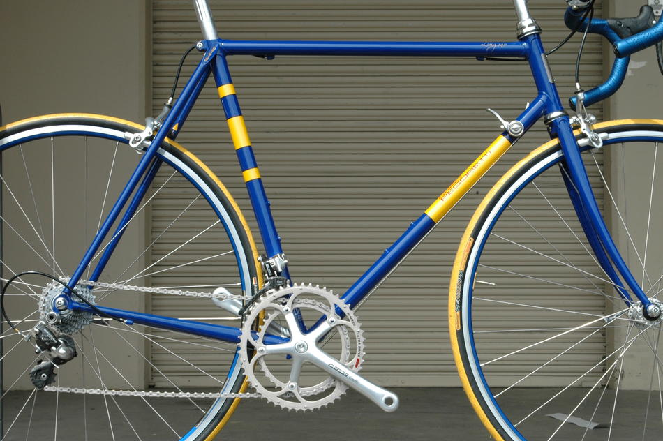 56cm Pegoretti Luigino in Blue/Yellow Faema color scheme. In stock at Lakeside Bicycles.