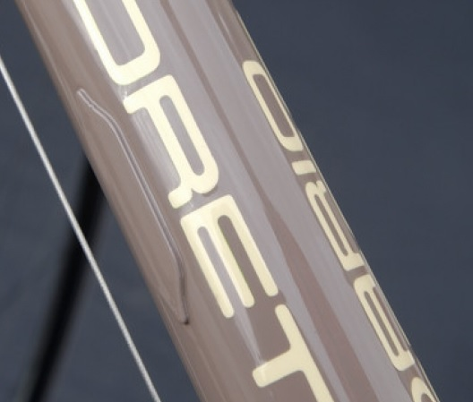 External covers on the downt tube of the Pegoretti Big Leg Emma.