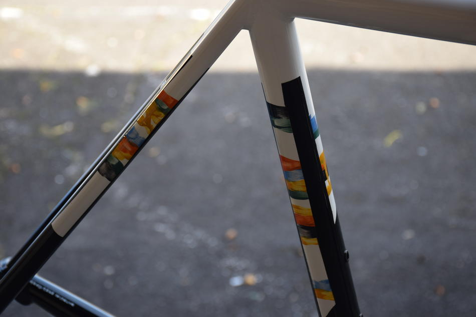 54cm Top Tube Pegoretti Love#3 in Manovella Paint Scheme. In stock at Lakeside Bicycles.