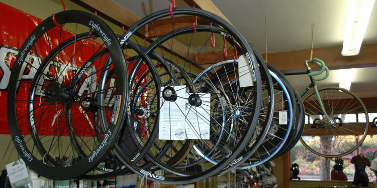 Lakeside Bicycles wheel display.