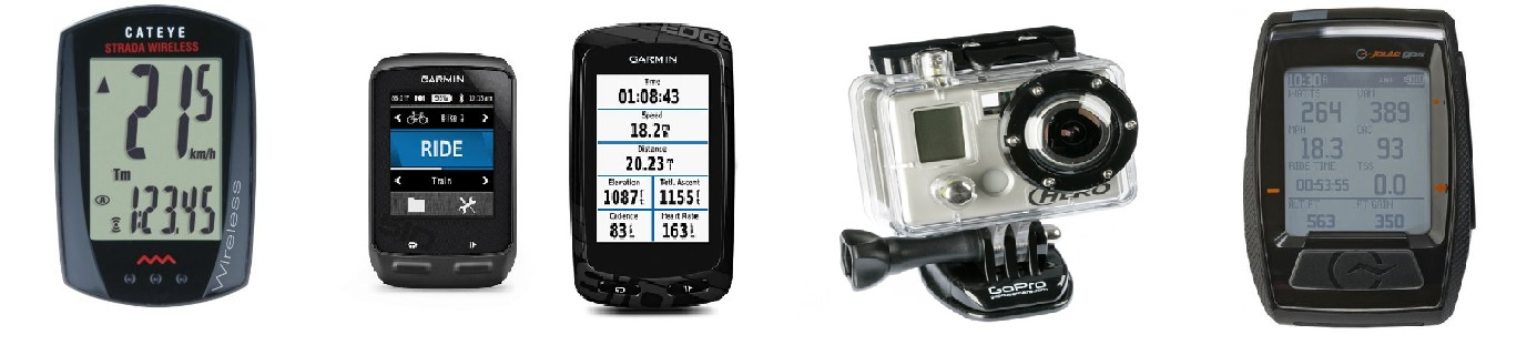 Electronics from Garmin, Cateye, GoPro and Saris.