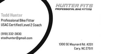 Todd Hunter. Professional bike fitter. stodhunter@gmail.com