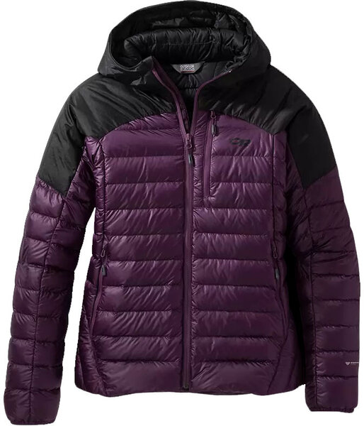Outdoor Research Women's Helium Down Hoodie Color: Blackberry/Black