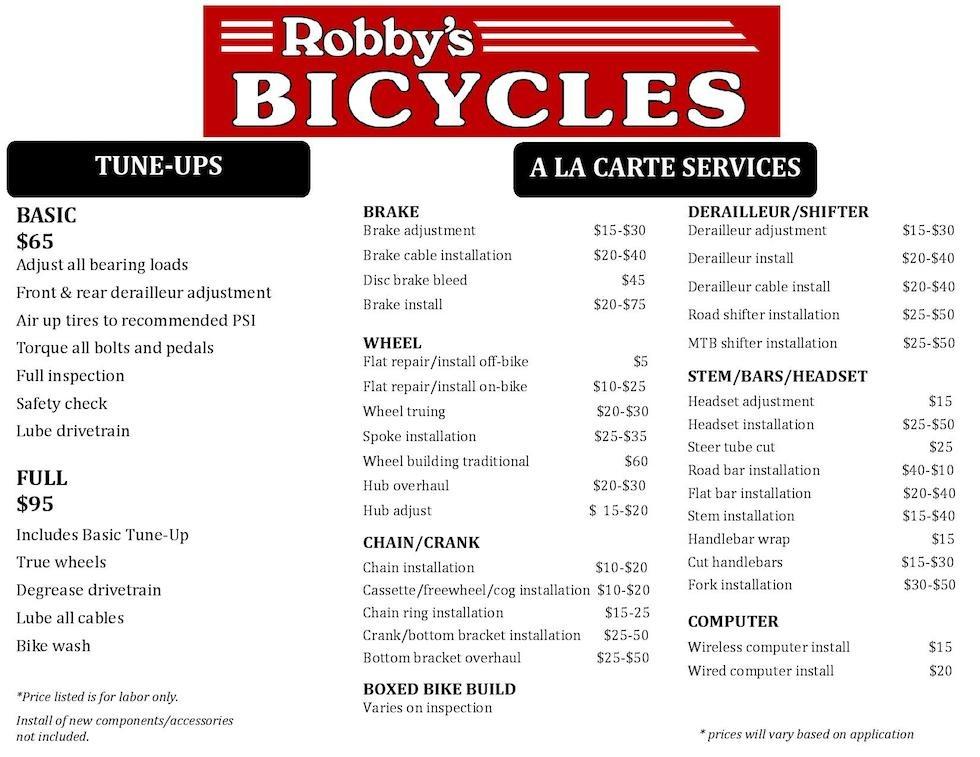 Robby's Service Menu - Stockton Ca