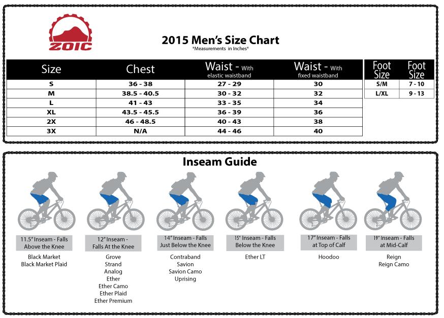 Zoic Men's Size Chart 2015
