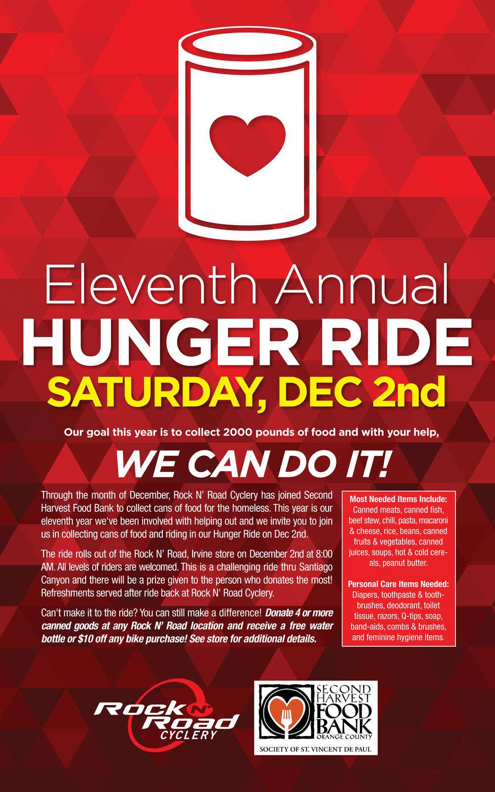 Hunger Ride Rock N Road Cyclery Orange County California