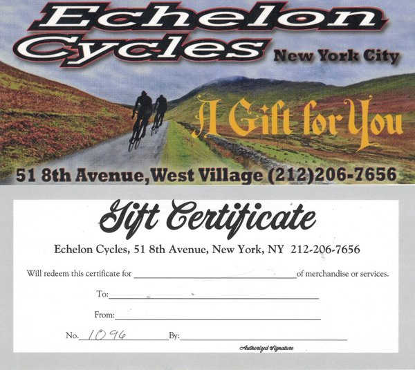 Echelon Cycles NYC 10% Gain Certificate - Year End Holidays 2019
